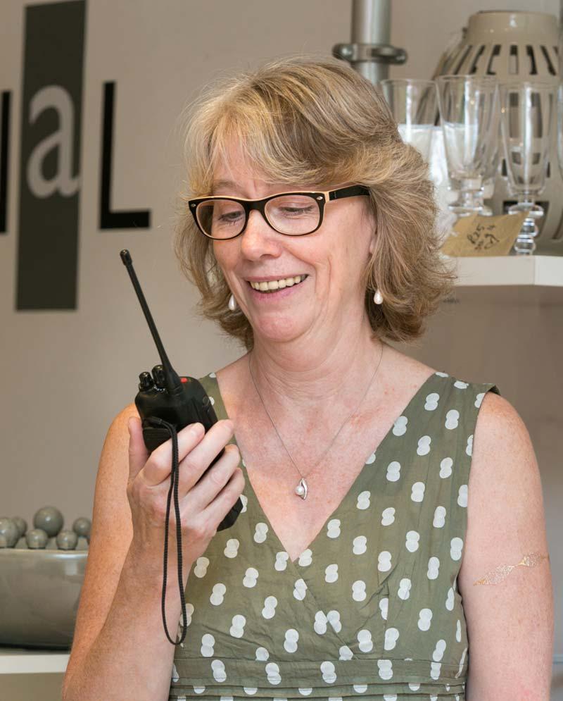 Woman using radio